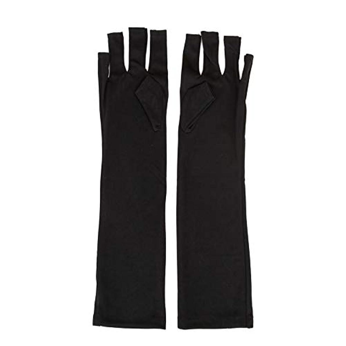 ドレス流産エジプト1ペアネイルアートUV保護手袋UVランプ放射線防護手袋ネイルアートドライヤーツールマニキュアツールネイルアートツールオープントゥブラック
