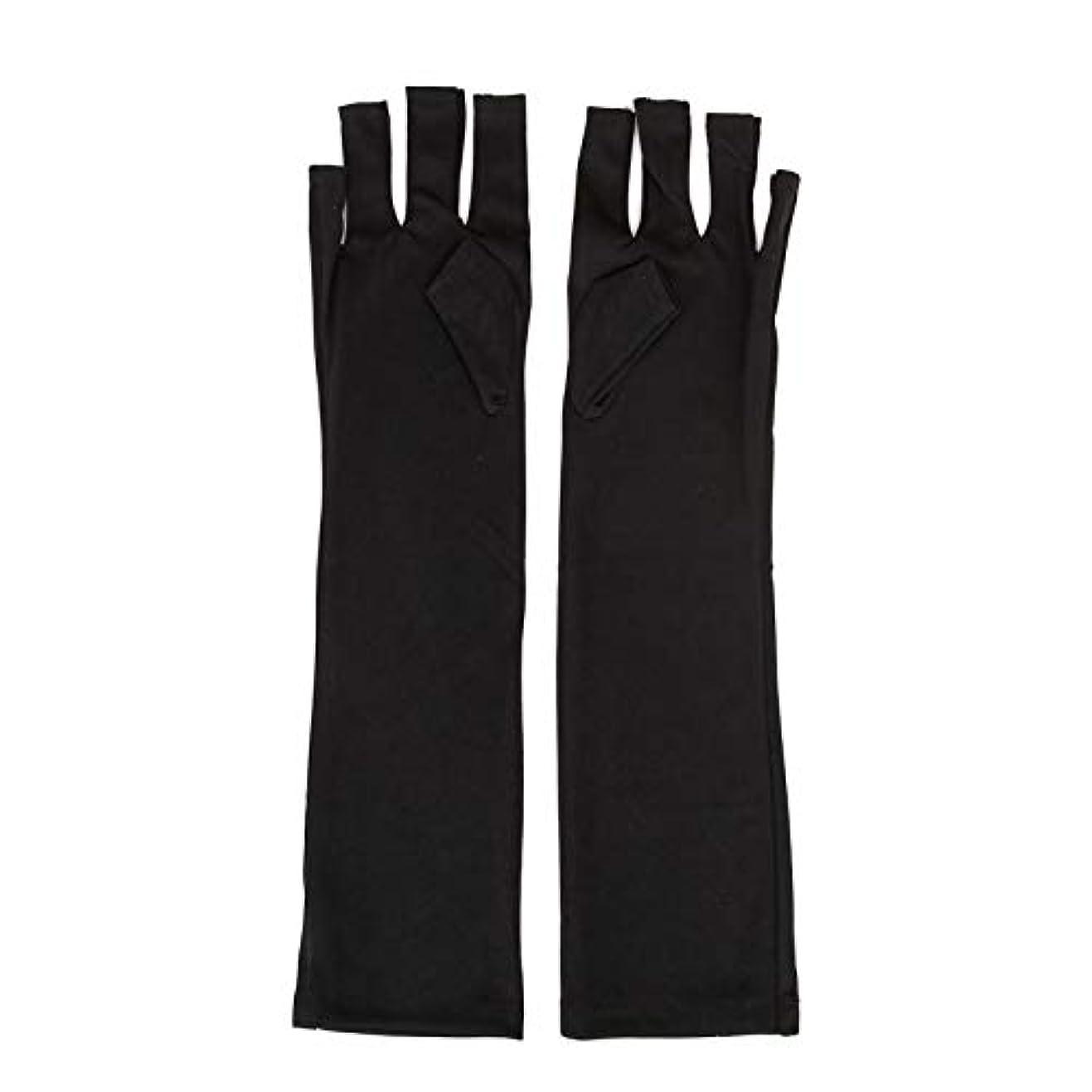 適合する伝染病うぬぼれた1ペアネイルアートUV保護手袋UVランプ放射線防護手袋ネイルアートドライヤーツールマニキュアツールネイルアートツールオープントゥブラック