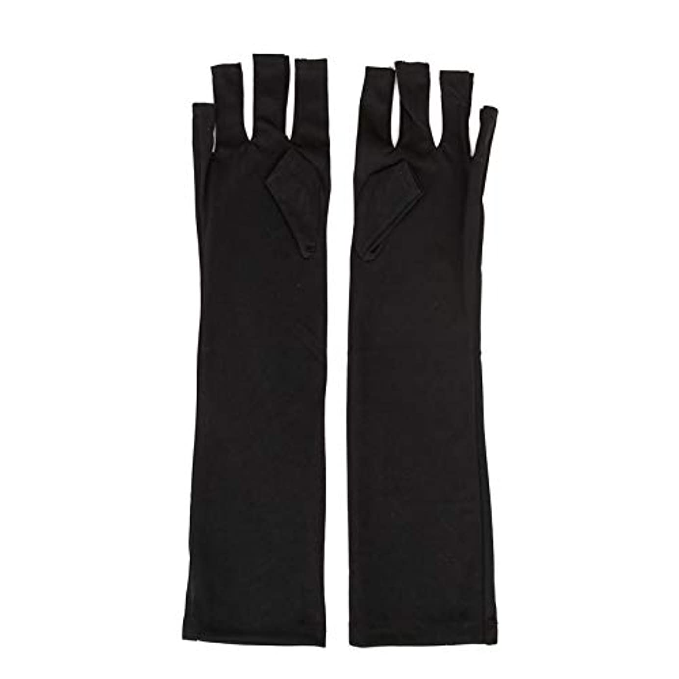 有益衝動謝罪する1ペアネイルアートUV保護手袋UVランプ放射線防護手袋ネイルアートドライヤーツールマニキュアツールネイルアートツールオープントゥブラック