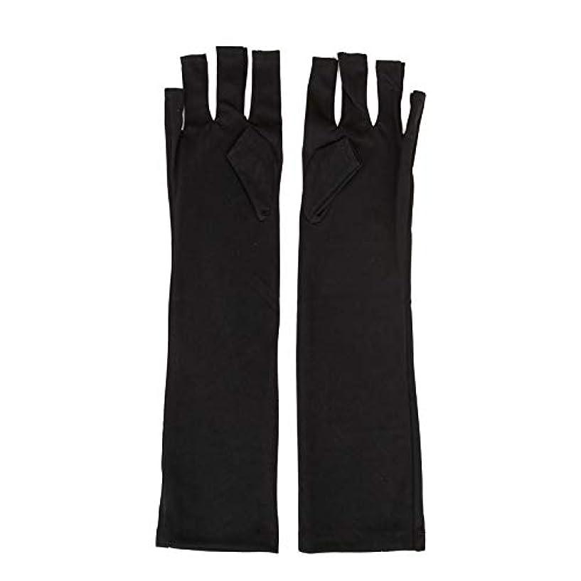 抵抗する不運壁紙1ペアネイルアートUV保護手袋UVランプ放射線防護手袋ネイルアートドライヤーツールマニキュアツールネイルアートツールオープントゥブラック