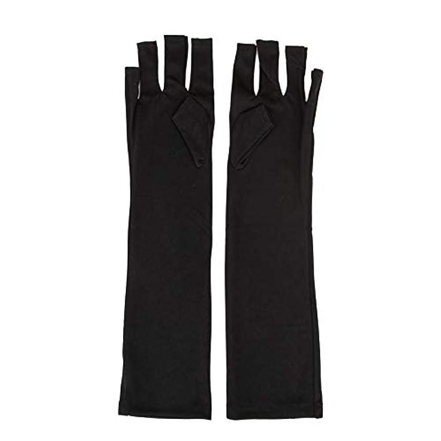 レパートリー爆発物割り当て1ペアネイルアートUV保護手袋UVランプ放射線防護手袋ネイルアートドライヤーツールマニキュアツールネイルアートツールオープントゥブラック