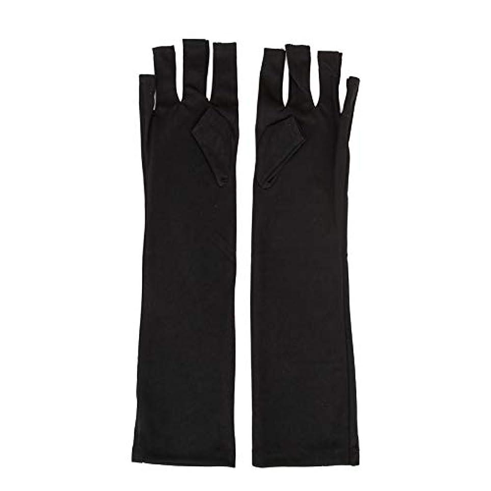 武装解除取り消す櫛1ペアネイルアートUV保護手袋UVランプ放射線防護手袋ネイルアートドライヤーツールマニキュアツールネイルアートツールオープントゥブラック