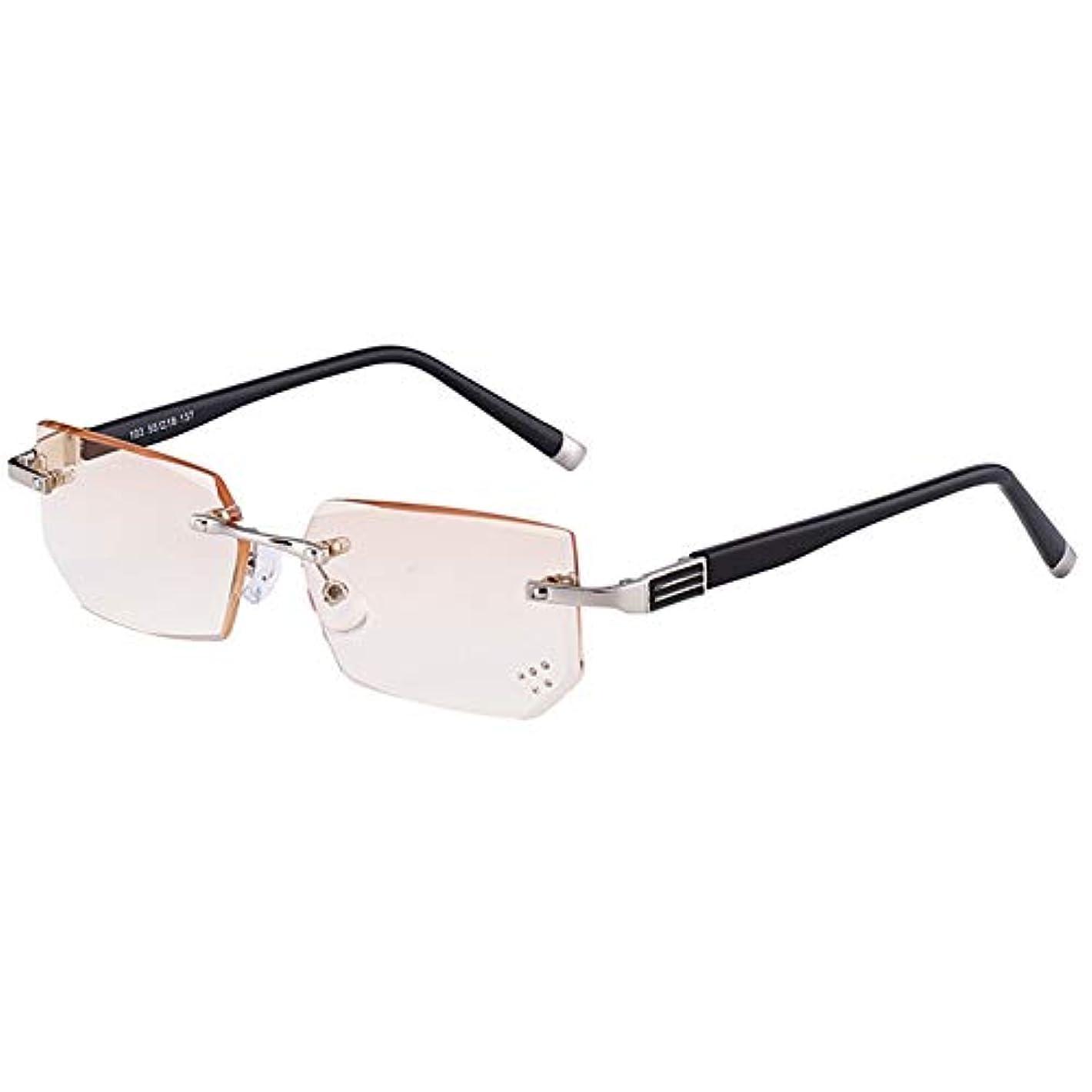 メンズアンチ疲労アンチブルー老眼鏡、 フレームレス老人読みますめがね ファッションダイヤモンドトリミングレディースメガネ