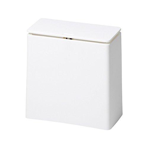 イデアコ フタ付ゴミ箱 チューブラー ミニ フラップ ホワイト 1.4L