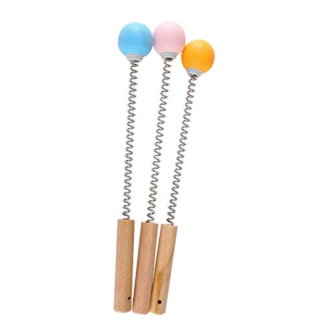 群衆国内の方法Oral Dentistry マッサージハンマー 肩たたき棒 木材柄 プラスチック製 ハンドル ばね付き ボディー ストレス 肩こり解消 手持ち ゴルフ型 (ブルー)