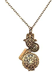 Hamsa Namaste and Om Bronze-tone Brass Tone Charms Aromatherapy Necklace Essential Oil Diffuser Locket Pendant...