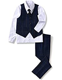 【YuanLu】ボーイズフォーマルスーツ 子ども服 男の子 キッズ スーツ 男の子スーツ ネクタイ ホワイトシャツ ベスト ズボン 入学式 発表会 結婚式 七五三