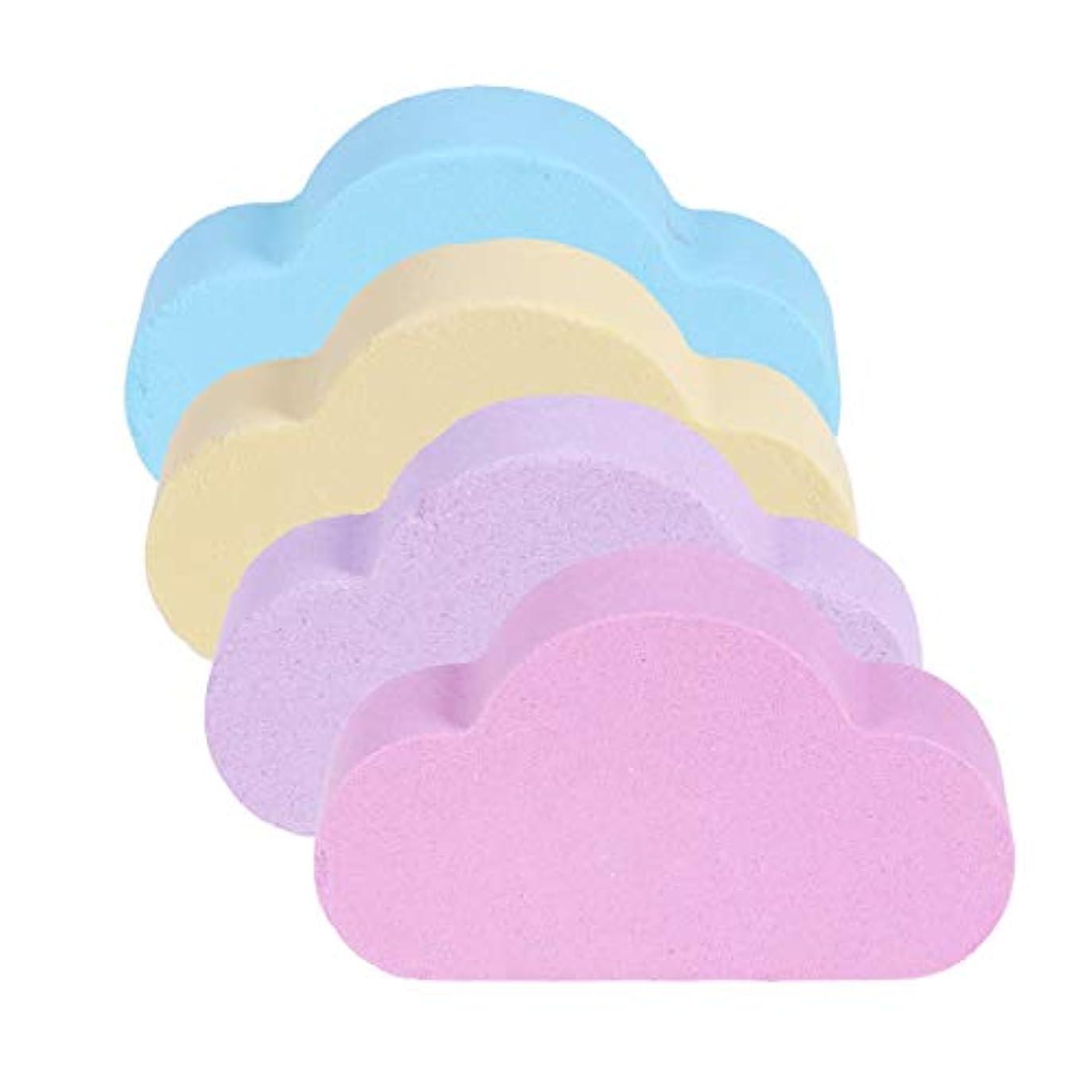 キリン適合する母性SUPVOX 4本入浴爆弾エッセンシャルオイルクラウドシェイプ塩バブル家庭用スキンケア風呂用品用バブルスパ風呂ギフト(カラフル)