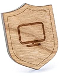 コンピュータ画面ラペルピン、木製ピンとタイタック|素朴な、ミニマルGroomsmenギフト、ウェディングアクセサリー