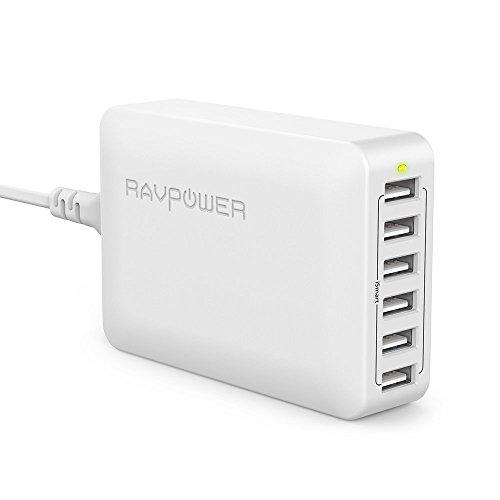 USB充電器 RAVPower 60W 6ポート 充電器 iPhone iPad Android スマホ タブレット モバイルバッテリー 等対応 acアダプタ 急速充電器 (ホワイト)