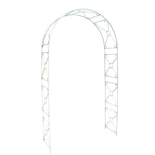 国華園 鉄製アーチ・ホワイトミスリル 1個 幅114×奥行38×高さ210cm パイプ径13mm ホワイト 鉄製 アイアン バラアーチ