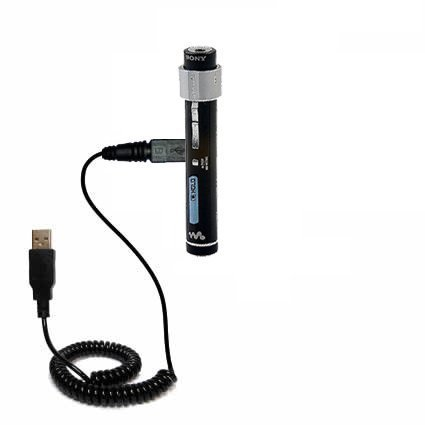 Coiled Power Hot Sync USB Cable for the Sony Walkman NW-S205F with both data and charge features - Uses Gomadic TipExchange Technology by Gomadic [並行輸入品]