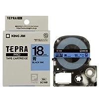 (まとめ) キングジム テプラ PRO テープカートリッジ パステル 18mm 青/黒文字 SC18B 1個 【×4セット】 [簡易パッケージ品]