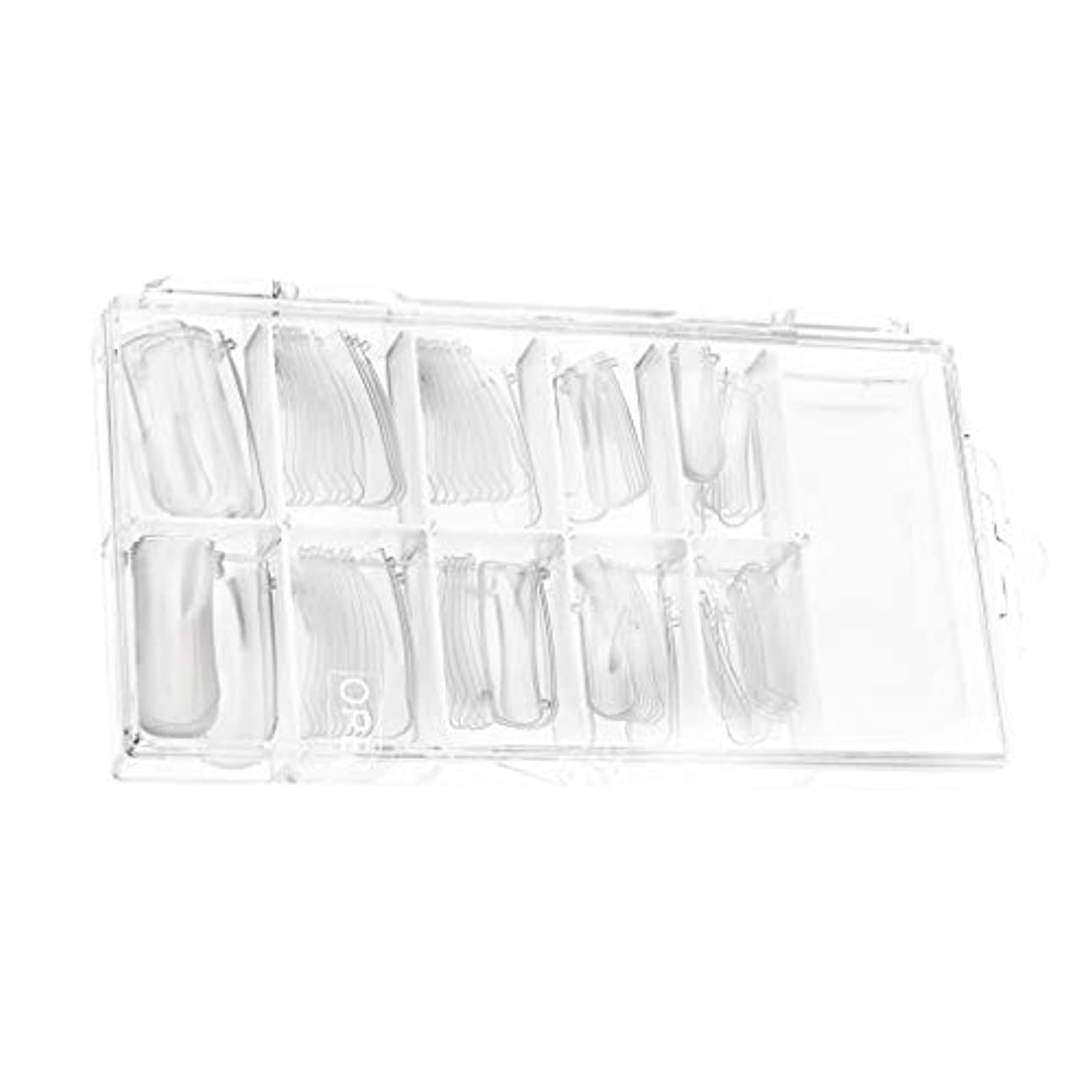 リーフレットサージ卑しいたくさん100棺ネイルクリアバレリーナネイルのヒントロングフルカバーアクリルネイル個人用または業務用(クリア)用10サイズ