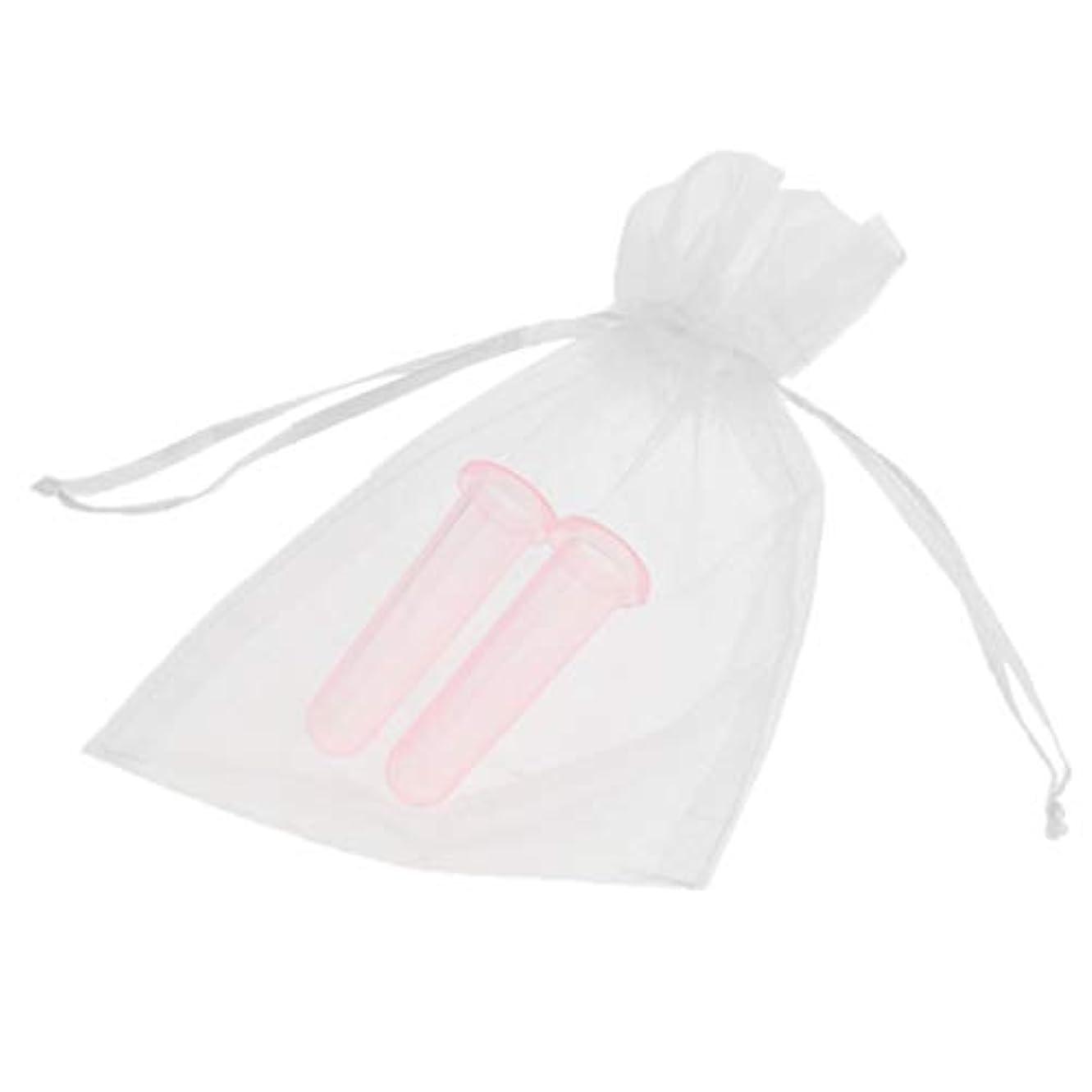 B Blesiya シリコーン製 真空 顔用マッサージ カッピング 吸い玉カップ カッピング 収納ポーチ付き 2個 全2色 - ピンク