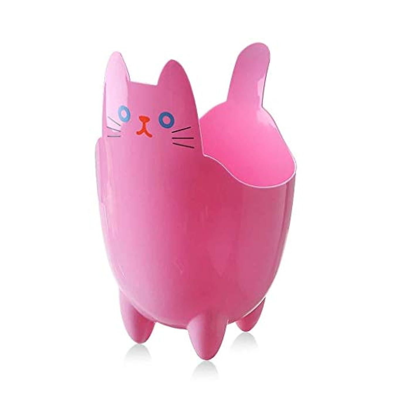 カウンタ困惑掃くオフィスの浴室の居間のための創造的な収納収納バケツかわいい猫のゴミ箱 (Color : Pink)