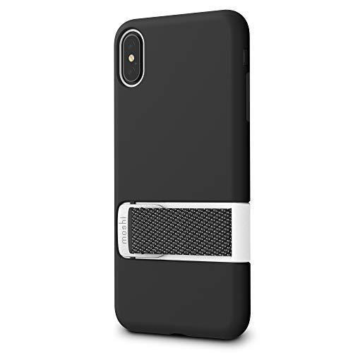 moshi Capto for iPhone XS Max (Black) ストラップケース マルチスタンド機能 角度調整可能 米軍MIL規格 ワイヤレス充電対応