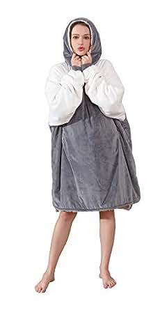 Winthome着る毛布 ルームウェア スウエットシャツ毛布 ポンチョ リバーシブル フード付き 着るブランケット 大きなポケット ふわふわ もこもこ素材 防寒 男女兼用 フリーサイズ