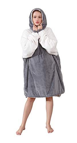 Winthome着る毛布 ルームウェア スウエットシャツ毛布 ポンチョ リバーシブル フード付き 着...