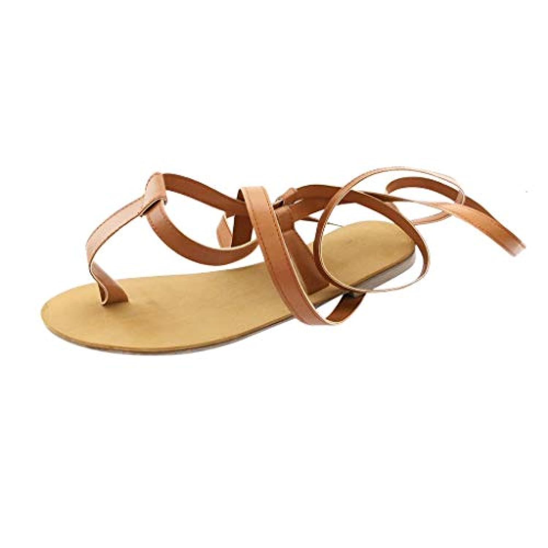レディース サンダル Tongdaxinxi 女性 夏 オープントゥストラップローマ風ストラップつま先 フラット サンダルの靴 大きいサイズ 疲れない 美脚 女性 シューズ ファッション 歩きやすい おしゃれ
