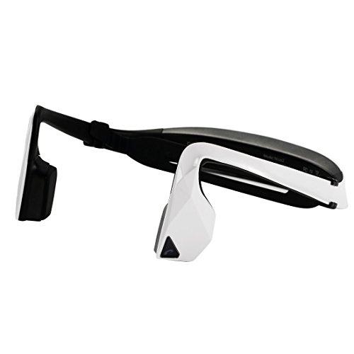 KSCAT 骨伝導 ヘッドホン Bluetooth4.1 ヘッドセット 高音質 ハンズフリー CVCノイズキャンセリング搭載 ワイヤレス 防汗 スポーツイヤホン 耳フリー 2台と同時に接続可能 NICE2 ホワイト