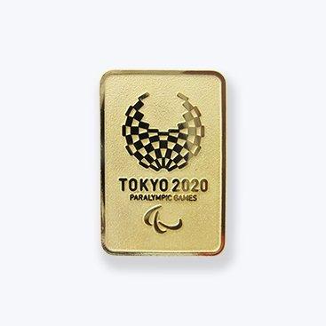 東京 2020 パラリンピック 組市松紋 エンブレム 四角 エンボス ピンバッジ ゴールド