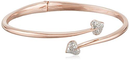 [해외][아마존 컬렉션 Amazon Collection 청동 &  핑크 골드 도금 2 톤 하트 뱅글 팔찌/[Amazon Collection] Amazon Collection Bronze &  Pink Gold Plated 2 Tone Heart Bangle Bracelet