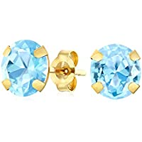 1.4CT Round Gemstone Aquamarine Stud Earrings For Women Real 14K Yellow Gold March Birthstones 6MM