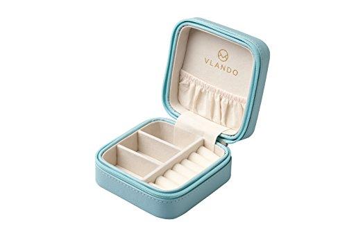 Vlando 正方形ジュエリーボックス ミニ宝石箱 携帯用 持ち運び トラベル ピアス ネックレス 指輪 リング アクセサリー 指輪置き ジュエリーバッグ 7色 (青)