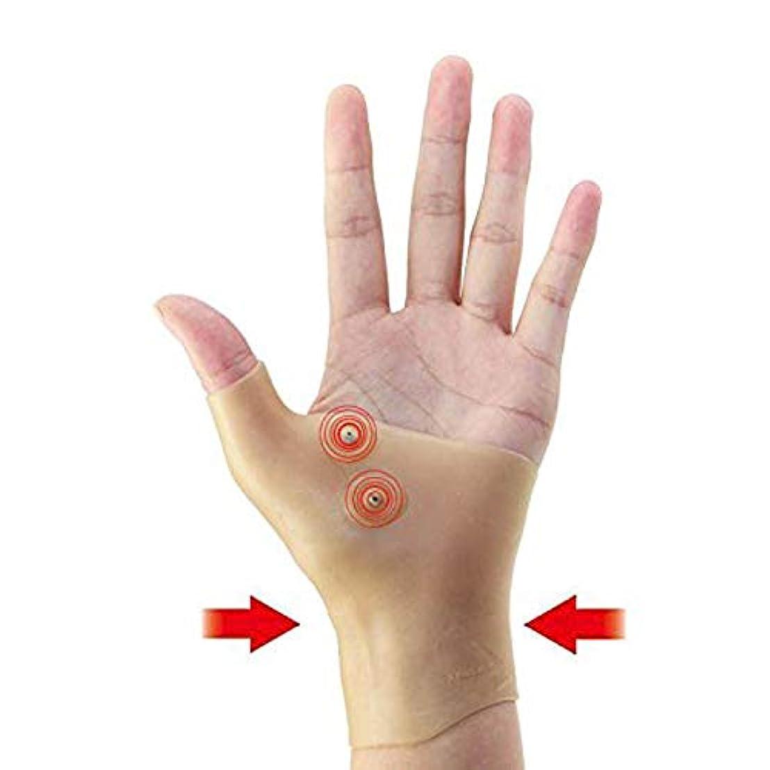 ぜいたく誓うタブレット磁気 圧縮手袋 - Delaman 指なし 手袋、健康手袋、圧着効果、疲労減少、健康関節、磁気療法、手首サポーター、ユニセックス