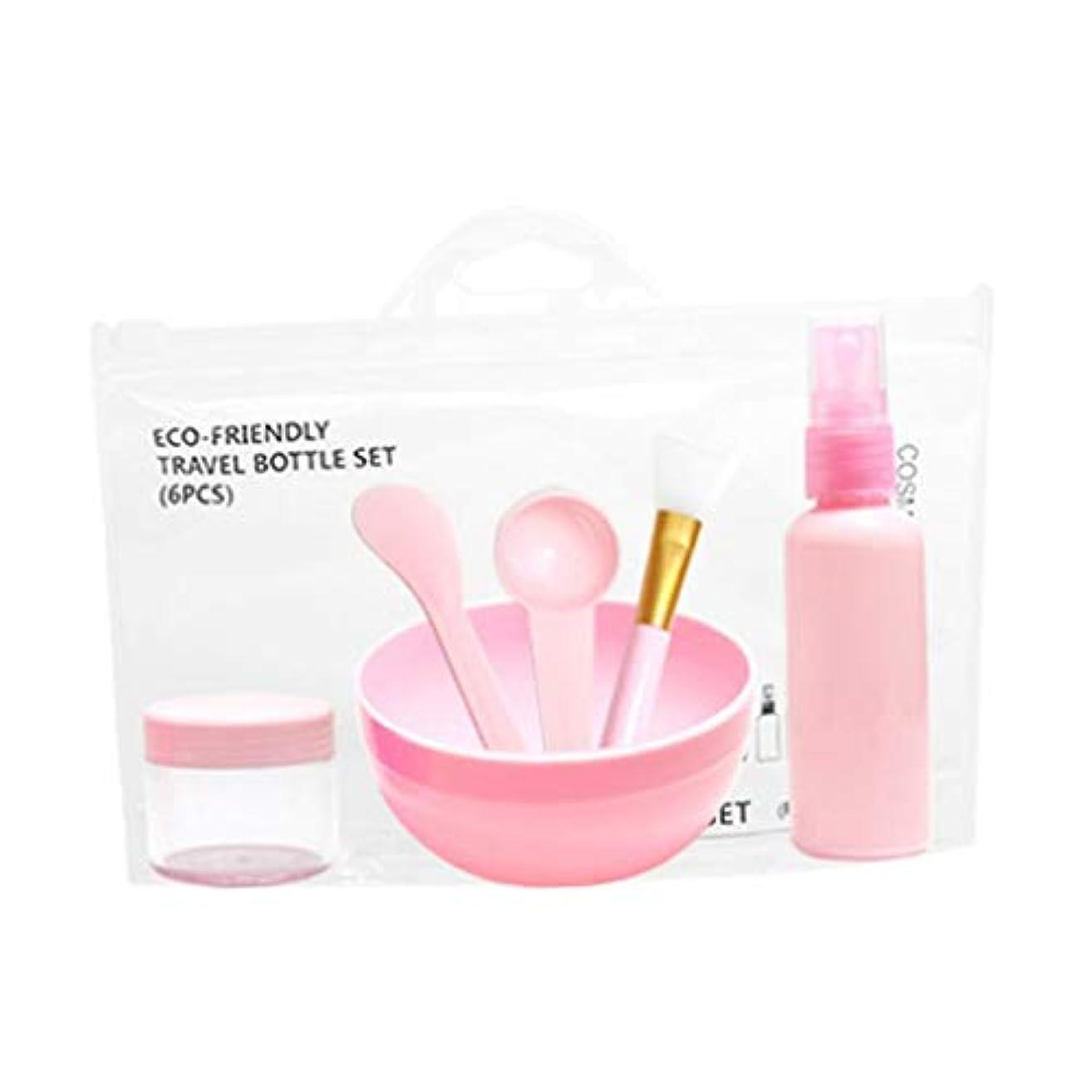 dailymall 6個セット フェイシャル メイクアップツール 計量スプーン マスクブラシ ボウル クリームケース 全2色 - ピンク