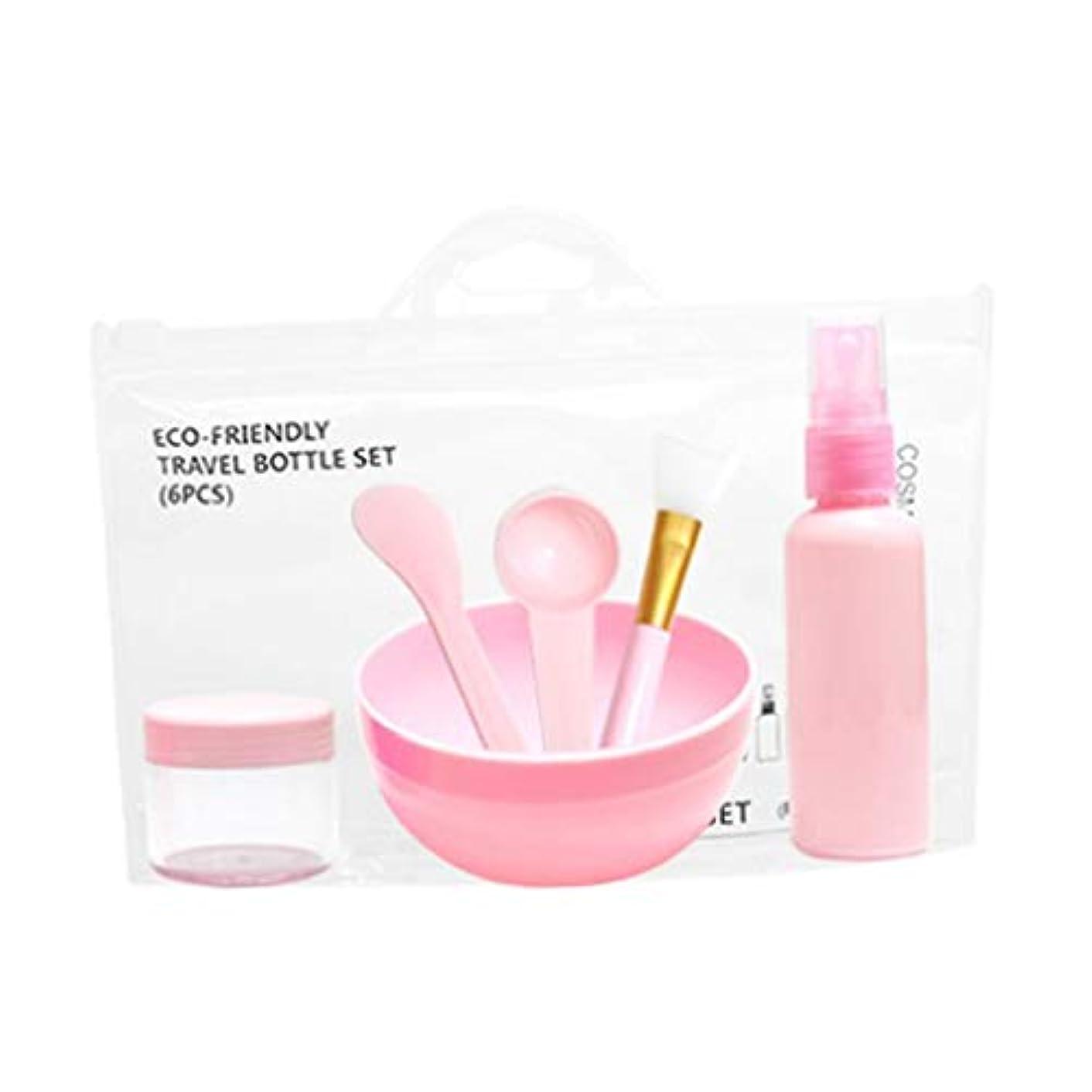 雲文法船上6個/セット 美容ツール DIYフェイシャルマスクツール ボウル マスクブラシ 計量スプーン 全2色 - ピンク