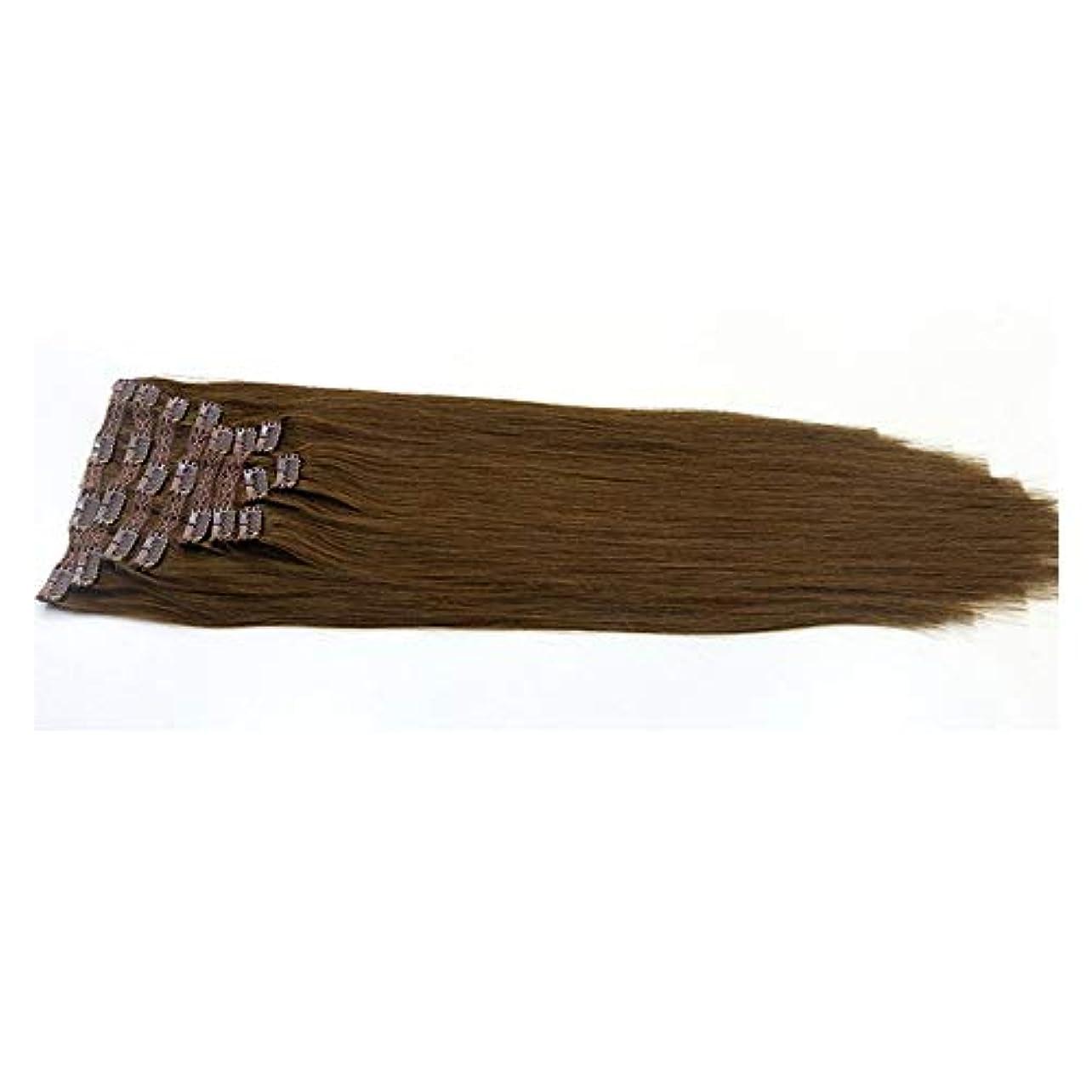 残基一時停止ハンドブックWASAIO 人間の頭部全体の自然ニート横糸ヘアエクステンションクリップのシームレスな髪型ブラジルクリップ (色 : ブラウン, サイズ : 28 inch)