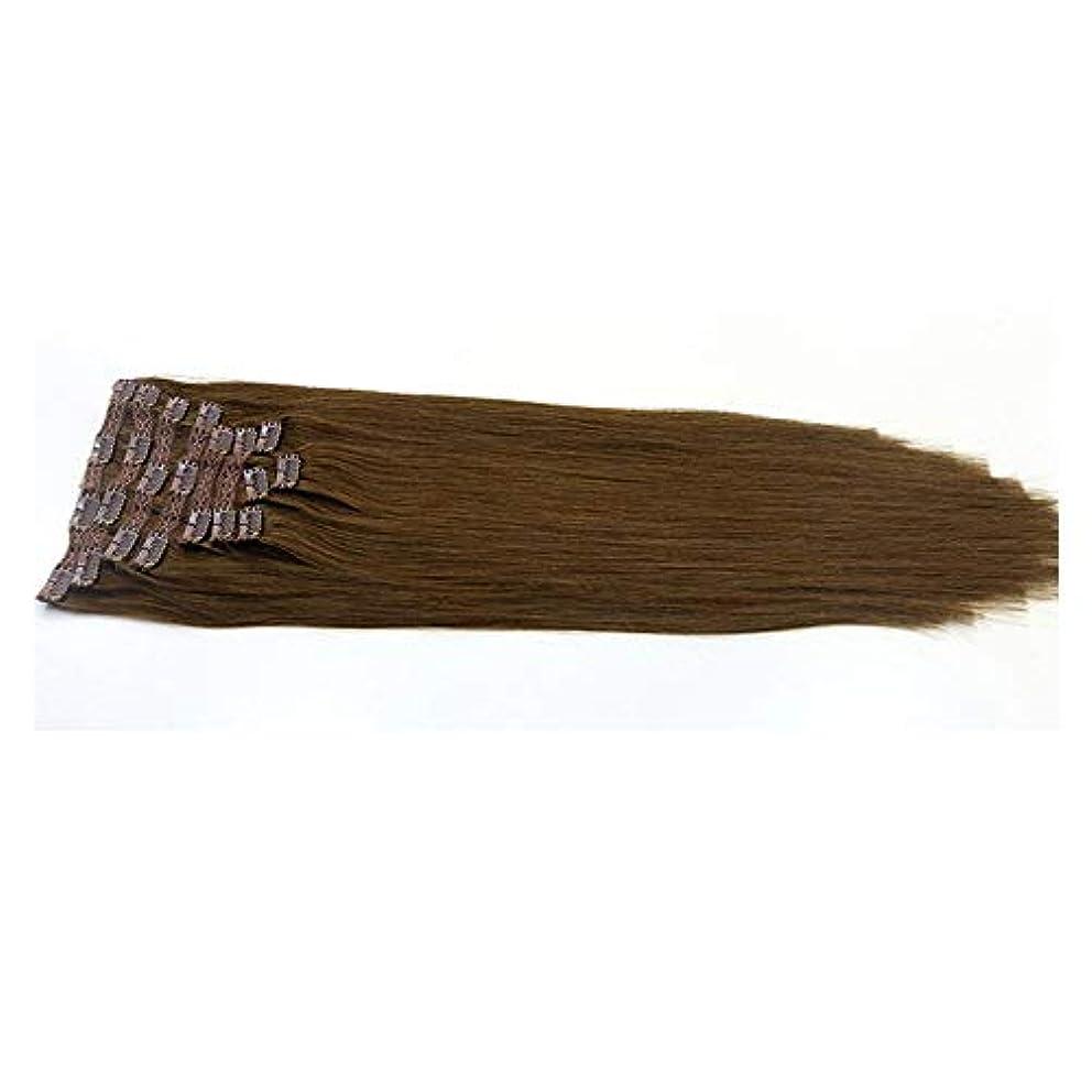マリンドラゴン比べるJULYTER ブラジルのヘアエクステンションクリップ人間の髪の毛のワンピース3/4フルヘッドレミー生物学的連続横糸 (色 : ブラウン, サイズ : 22 inch)