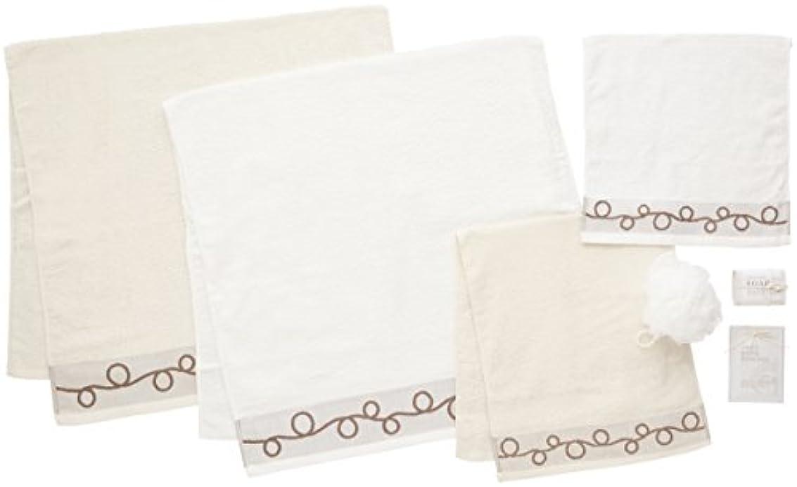 日本ユーテンシル タオルギフトセット ホワイト バスタオル:60×120cm フェイスタオル:34×80cm ハンドタオル:34×34cm