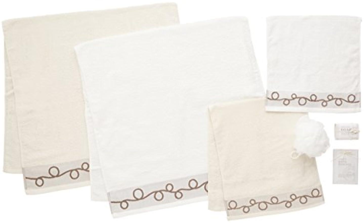 引き算細胞義務日本ユーテンシル タオルギフトセット ホワイト バスタオル:60×120cm フェイスタオル:34×80cm ハンドタオル:34×34cm