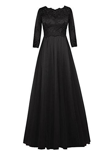 Dresstell(ドレステル) 結婚式 お呼ばれフォーマルドレス チュールアップリケ付き 長袖 レディーズ ブラック 15号