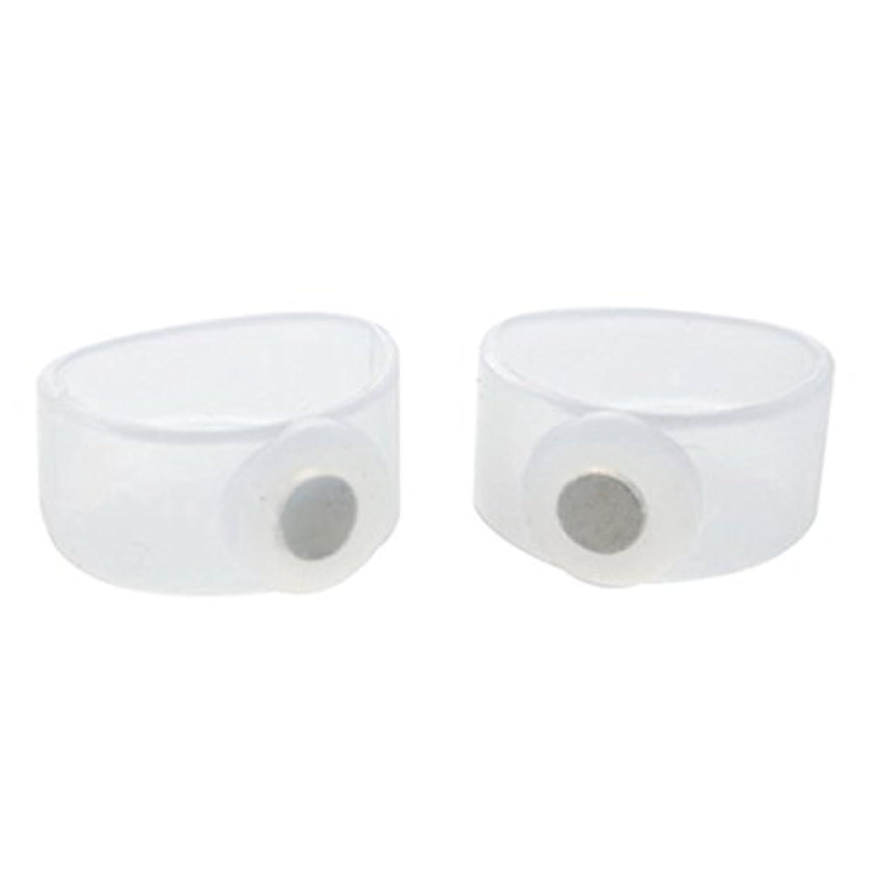グリース効果的に乱れ2ピース痩身シリコン磁気フットマッサージャーマッサージリラックスつま先リング用減量ヘルスケアツール美容製品 - 透明