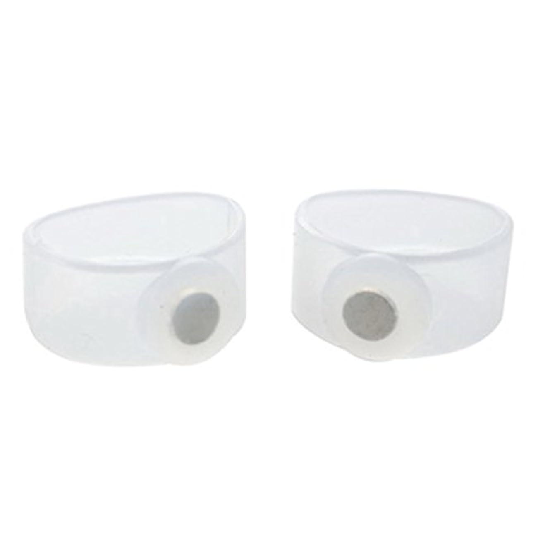 2ピース痩身シリコン磁気フットマッサージャーマッサージリラックスつま先リング用減量ヘルスケアツール美容製品 - 透明