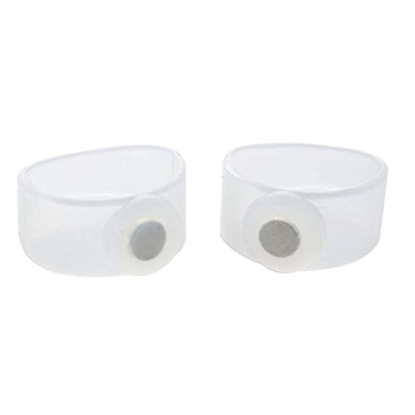 冷ややかな手を差し伸べる驚2ピース痩身シリコン磁気フットマッサージャーマッサージリラックスつま先リング用減量ヘルスケアツール美容製品 - 透明