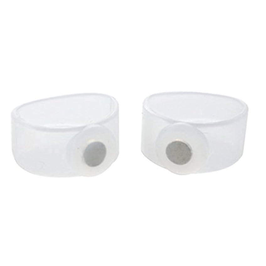 トランスミッション温かいライター2ピース痩身シリコン磁気フットマッサージャーマッサージリラックスつま先リング用減量ヘルスケアツール美容製品 - 透明