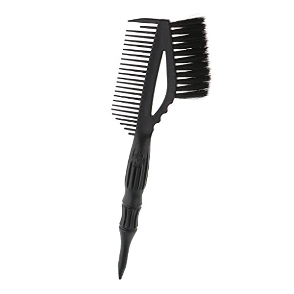 葉を集める本気増加するヘア 染色 コーム ブラシ付き ヘアカラー 櫛 ヘアダイブラシ 静電気防止 高温耐性 全2色 - ブラック