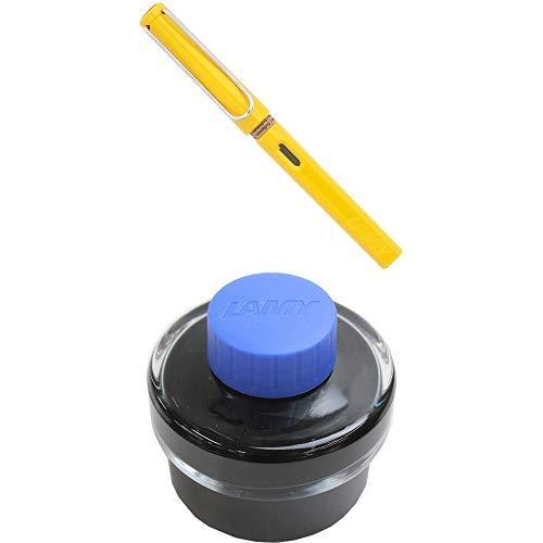 LAMY ラミー 万年筆 ペン先EF(極細字) サファリ イエロー L18-EF 両用式 コンバーター別売 正規輸入品+LAMY ラミー ボトルインク ブルー LT52BL 6個セット 6個セット 正規輸入品