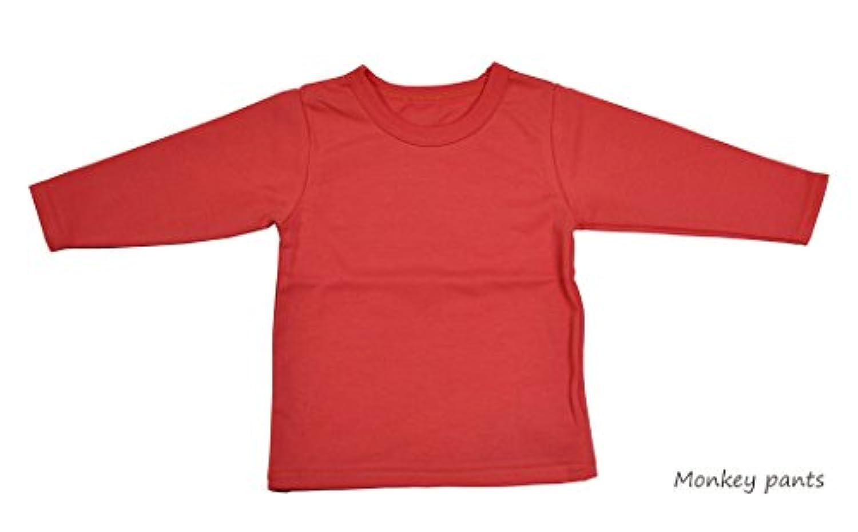 日本製 カラーバリエ シンプル 無地の長袖Tシャツ NOホルマリン ノエル 80cm サーモンオレンジ