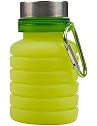 LIOOBO 折りたたみウォーターボトル食品グレードシリコーンポータブルリークプルーフ旅行用ウォーターボトルカラビナ付きトラベルスポーツアウトドア(グリーン)550ml