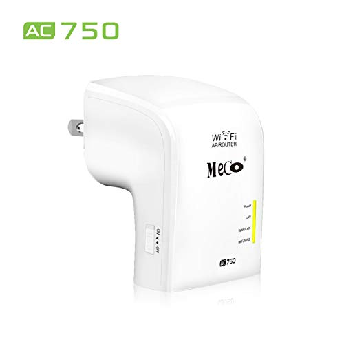 MECO WIFI 無線LAN中継器 433+300Mbps コンセント直挿し wifi中継器 無線信号中継装置 2 LANポート WPS ルーター/AP/リピータ 無線信号増幅装備 wifi 無線LAN 中継機 信号 増幅器 ホワイト