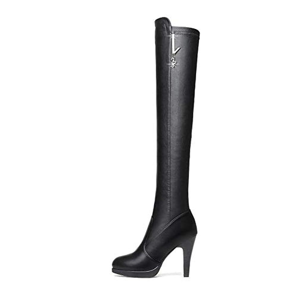 焦げクリケット機会女性のファッションブーツ、スティレットハイヒールの膝のブーツブーツ女性のレザーブーツプラスベルベットのレディースブーツ冬の女性の野生の靴 (色 : ブラック, サイズ : 35)