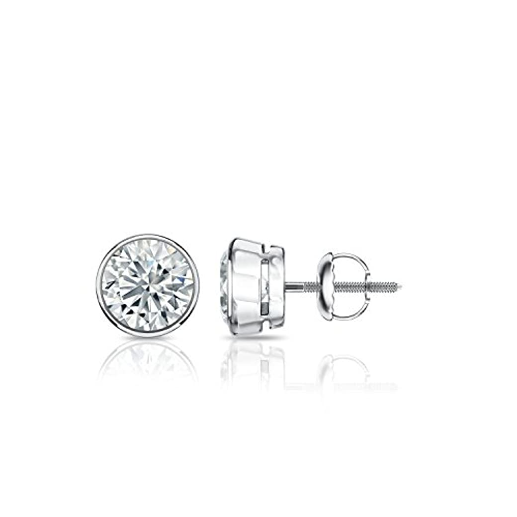 心のこもったシーサイド醜い18 Kゴールドbezel-setラウンドダイヤモンドメンズ'sstudイヤリング(1 /4 – 2 ct、J - K、i1 - i2 ) screw-backs