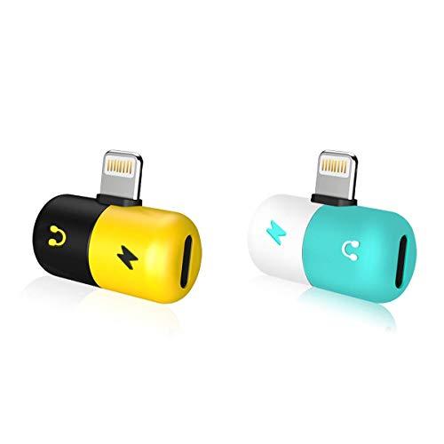 【2個セット】RoiCiel ロイシエル 2in1 ライトニングポート3.5mm端子 通話の機能が付き Adapter Audio オーディオ ジャック イヤホン ヘッドホン インタフェース 変換 アダプタ 充電ケーブル Lightning充電口付きPhoneXS/XSMax/XR/iPhoneX/iPhone8/iPhone7/iPhone7Plus、iPad/iPodなど対応64F3-D85 (【2個セット】ブラック/イエロー&ホワイト/ブルー)