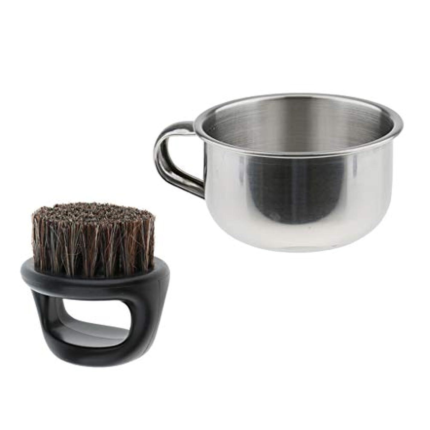 病気の対処近くシェービングブラシ シェービングボウル メンズ 髭剃り シェービング用アクセサリー サロン 理髪用 2点